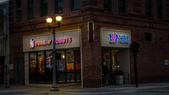 Mar 13, 2016 - Dunkin Donuts with street lights on along Cleveland Street in Clearwater, FL/photonews247.com