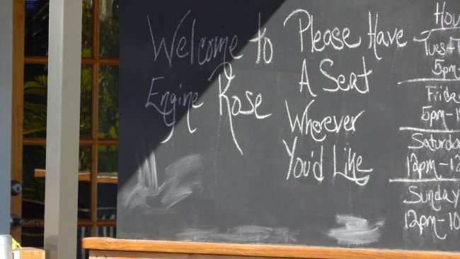 Mar 6, 2016 - Engine Rose seat yourself written on chalkboard in St Petersburg, FL/photonews247.com