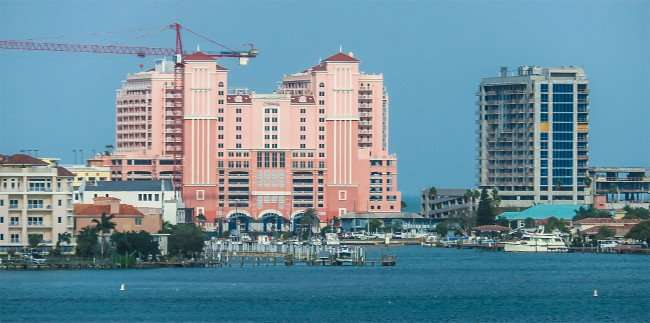 Mar 13, 2016 - Hyatt (L) in orange next to Wyndham Grand Resort (R) under construction, Clearwater Beach, FL/photonews247.com