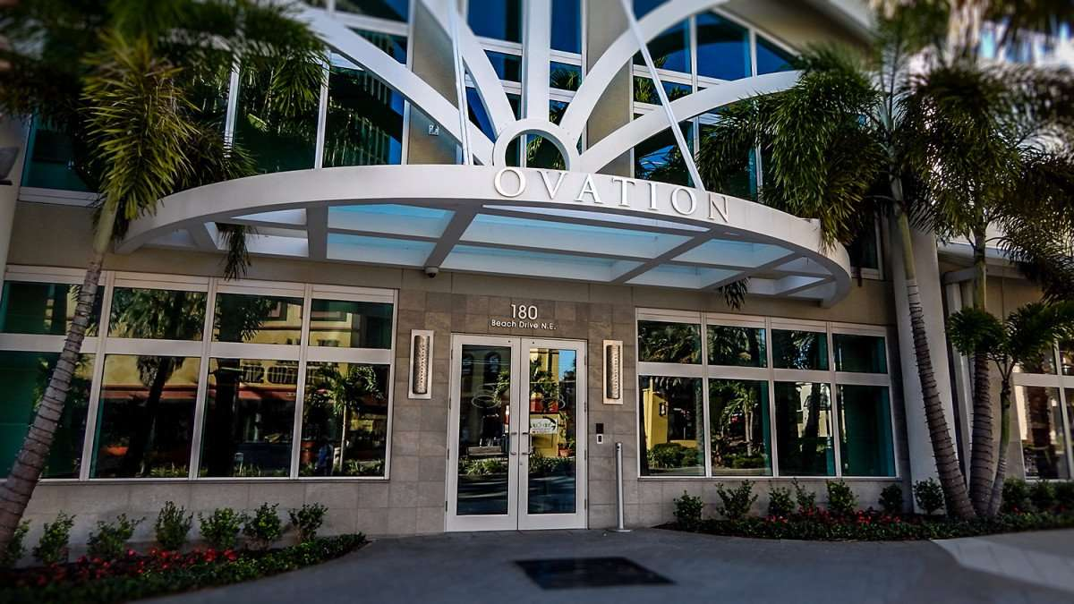 Mar 6, 2016 - Ovation Condo high rise front doors to lobby at 180 Beach Drive St Pete/photonews247.com