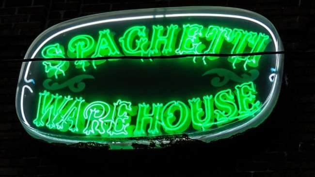 Mar 27, 2016 - Spaghetti Warehouse sign with lights on in Ybor City Tampa/photonews247.com