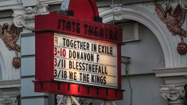 Mar 6, 2016 - State Theatre with bands on marquee: Together In Exile, Donavon F, BlessTheFall, We The Kings/photonews247.com
