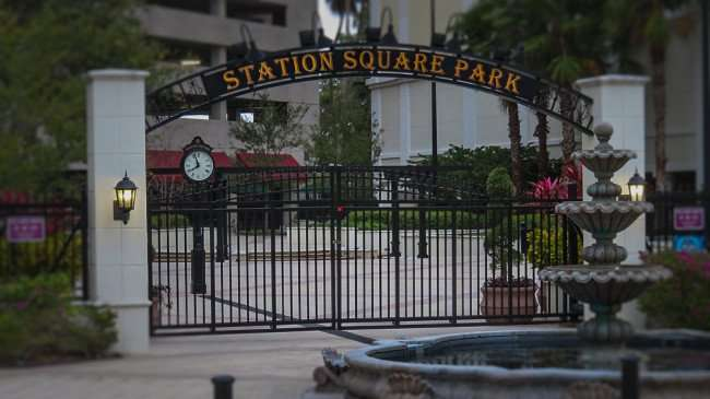 Mar 13, 2016 - Station Square Park with gate closed fountain off, Clearwater, FL/photonews247.com