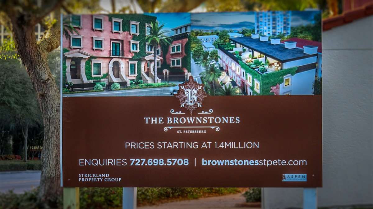 Feb 21, 2016 - The Brownstones St Pete rendering on sign at construction site/photonews247.com