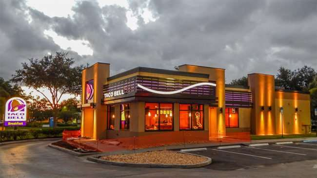 July 2014 – The new Taco Bell at night very colorful in Sun City Center, FL/photonews247.com