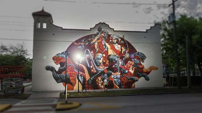 Mar 27, 2016 - Tristan Eaton paints classic mural with big cats in Bern's Steak House, Tampa, FL/photonews247.com