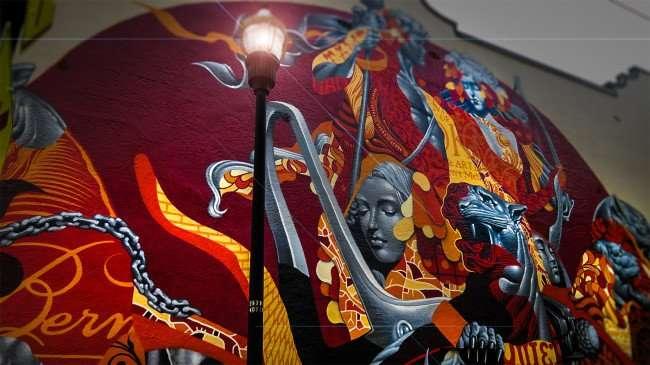 Mar 27, 2016 - Tristan Eaton paints mural on Bern's Steak House Restaurant, Tampa, FL/photonews247.com