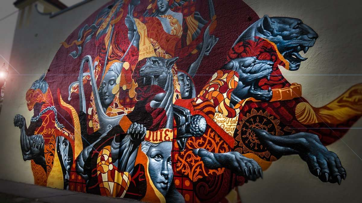 Mar 27, 2016 - Tristan Eaton paints mural on Bern's Steak House, Tampa, FL/photonews247.com