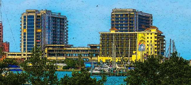 Mar 13, 2016 - Wyndham Grand Resort consists of two towers with parking lot in middle as seen animated here across bay at Clearwater Beach under construction/photonews247.com