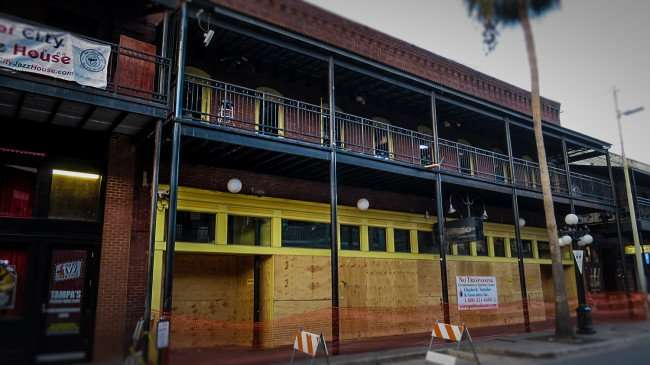 April 10, 2016 - Amphitheater Ybor boarded up due to fire on 1609 7th Ave next to Jazz House in Ybor Tampa, FL/photonews247.com