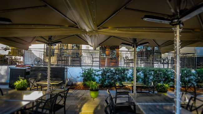 Feb 21, 2016 - Birch & Vine restaurant with large canopy shading numerous tables, St. Pete/photonews247.com