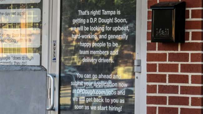 April 24, 2016 - DP Dough looking for workers for its South Howard location in Tampa/photonews247.com