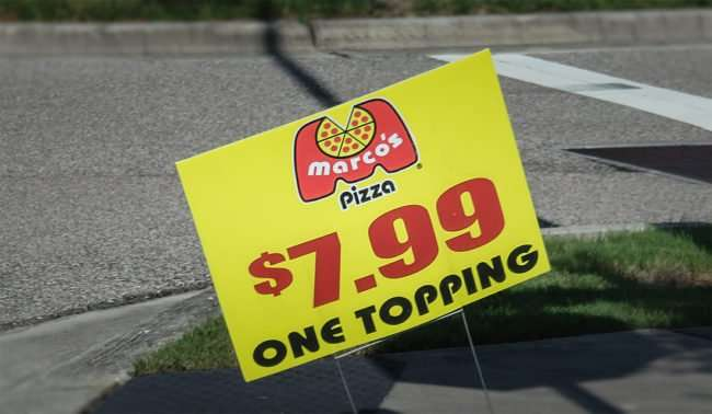 9.23.2016 - Marcos Pizza $7.99 one topping at Apollo Beach, FL SouthShore/photonews247.com