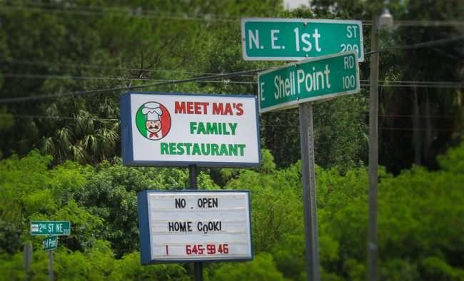 Sept 6, 2016 - Meet Mas Restaurant signs reads No Open, Ruskin, FL/photonews247.com