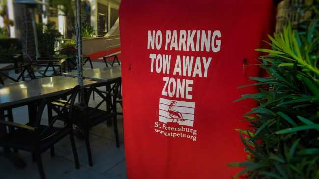 Feb 21, 2016 - No Parking Zone in fron of the Birch & Vine restaurant at The Birchwood Hotel, St Pete/photonews247.com