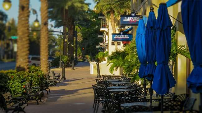 Feb 21, 2016 - Parkshore Grill sidewalk dining, park benches, tables with umbrellas in St Pete, FL/photonews247.com