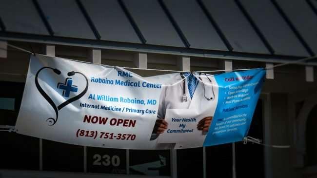 May 1, 2016 - Robaina Medical Center, Apollo Beach, FL banner reads now open/photonews247.com