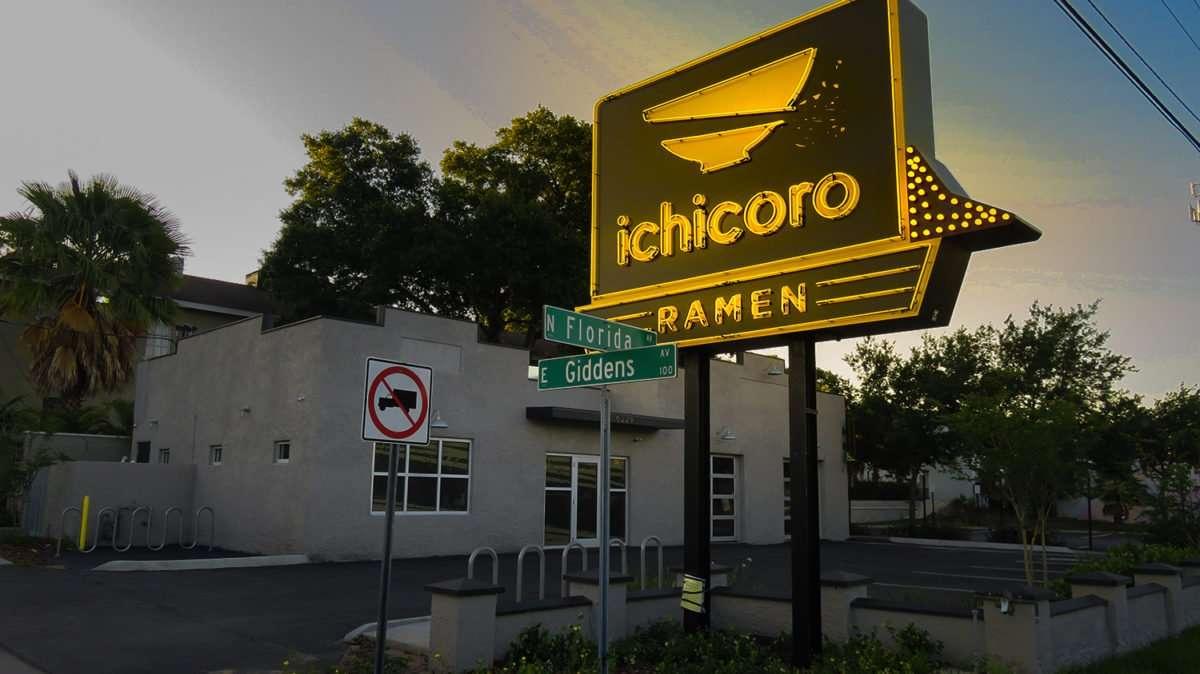 May 8, 2016 - ichicoro RAMEN Restaurant sign at Florida Ave and Giddens Ave, Tampa/photonews247.com