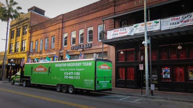 April 10, 2016 - Servpro trailer parked in front of Tequila Bar and Ybor City Jazz House after fire on 7th Avenue, Ybor City Tampa/photonews247.com