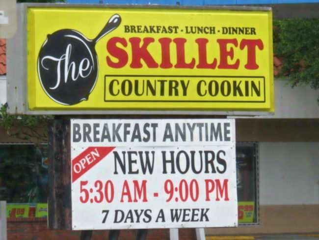 June 11, 2016 - The Skillet Country Cookin signage on US-41 Ruskin FL/photonews247.com