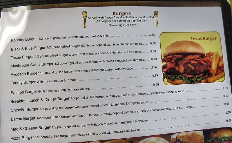 11.30.2016 - Burger Menu, Kountry Kitchen, Ruskin, FL/photonews247.com