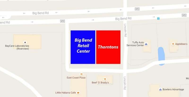 Thorntons, Big Bend Retail Center, Riverview, FL/Google Maps Copyright 2016