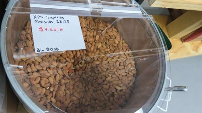 Price at $7.33/LB for NPS Supreme Almonds at Bulk Foods Superstore in Ruskin, FL/photonews247.comm