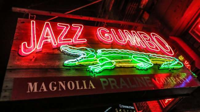 Jan 9, 2017 - Canon PowerShot SX710 HS takes photo of Jazz Gumbo neon sign, Canal St/photonews247.com