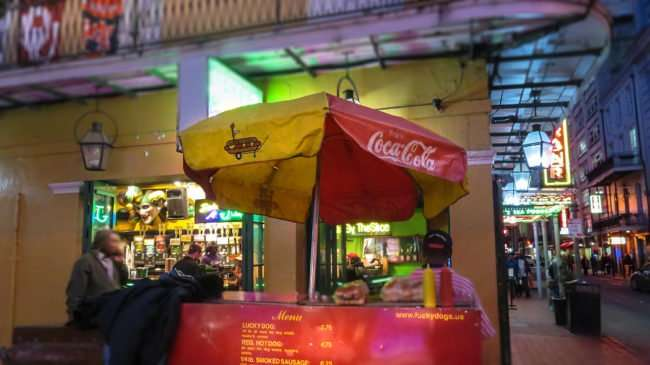 Jan 9, 2107 - Canon PowerShot SX710 HS takes photo of Lucky Dog menu with prices Bourbon Street/photonews247.com