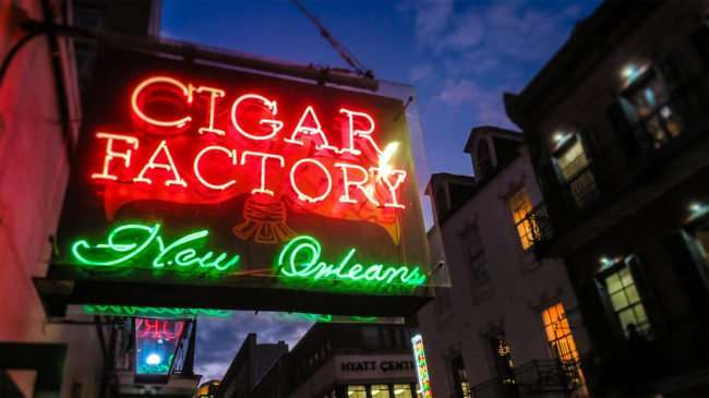 Jan 9, 2017 - Cigar Factory New Orleans neon sign, Bourbon Srreet, French Quarter/photonews247.com