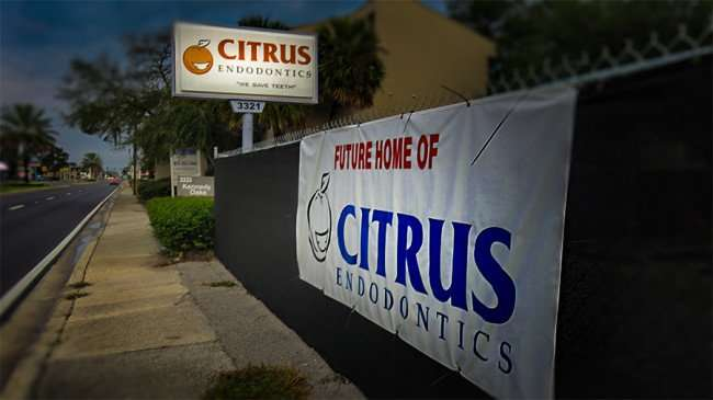 Jan 10, 2015 - Citrus Endodontics future dentist banner on fence at construction site on 3321 Kennedy Blvd, Tampa, FL/photoews247.com