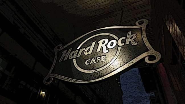 Jan 9, 2017 - Hard Rock Cafe metal sign with poster filtered added located on Bourbon Street, New Orleans, LA/photonews247.com