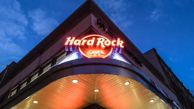Jan 7, 2017 - Hard Rock neon sign on Bourbon Street, New Orleans, LA/photonews247.com