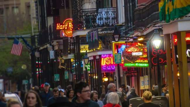 Jan 9, 2017 - Hundreds walking down Bourbon Street, New Orleans, LA/photonews247.com