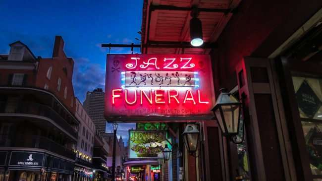 Jan 9, 2017 - Jazz Funeral across the street from Royal Sonesta Hotel, Bourbon St, French Quarter, New Orleans, LA/photonews247.com