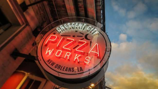 Jan 9, 2017 - Neon sign of Crescent City Pizza Works, Bourbon St, New Orleans, LA/photonews247.com
