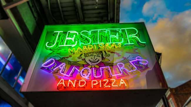 Jan 9, 2017 - Neon sign of Jester Mardi Gras Daquries and Pizza, New Orleans, LA/photonews247.com