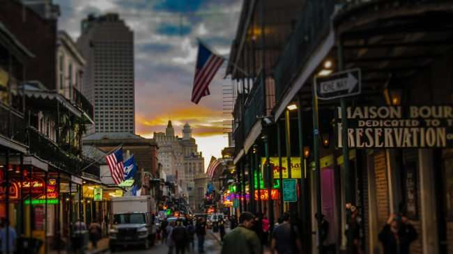 Jan 9, 2017 - People on Bourbon Street before dusk in New Orleans. LA/photonews247.com