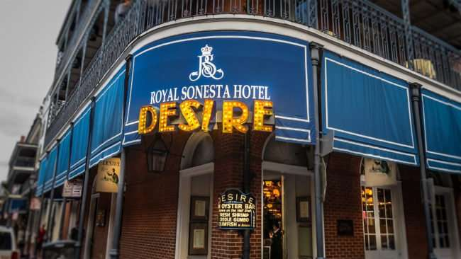 Jan 9, 2017 - Photo by Canon PowerShot SX710 HS of marquis sign on Desire Oyster Bar, New Orleans, LA/photonews247.com