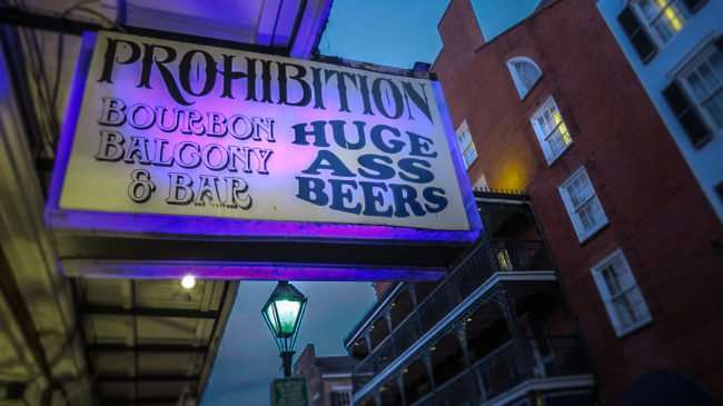 Jan 9, 2017 - Prohibition Bourbon Balcony and Bar Huge Ass Beers, Bourbon St, New Orleans, LA/photonews247.com
