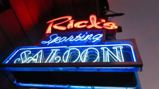 Jan 9, 2017 - Ricks Sporting Saloon neon sign on Bourbon St, French Quarter, New Orleans, LA/photonews247.com