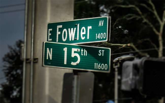 Jan 10, 2016 - Street signs marking corner of E Fowler Ave and N 15th Street/photonews247.com