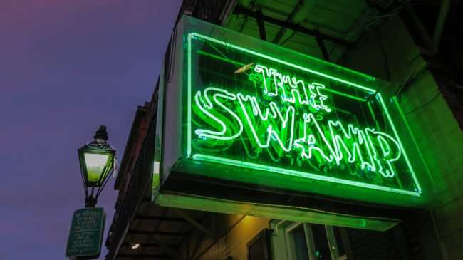 Jan 9, 2017 - The Swamp neon sign by street light with beads from Mardis Gras on Bourbon St, New Orleans, LA/photonews247.com