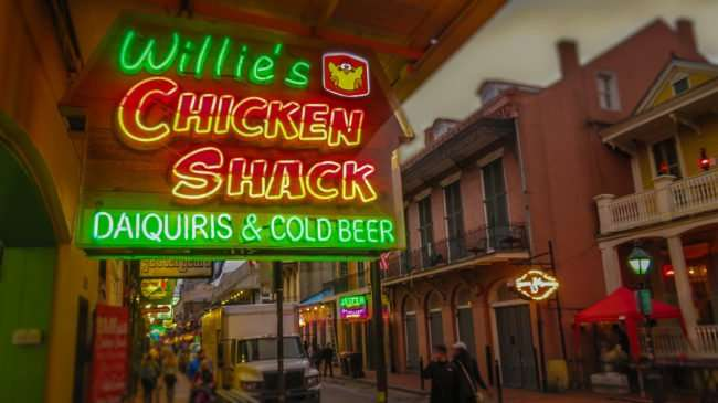Jan 9, 2017 - Willie's Chicken Shack neon sign on Bourbon St, New Orleans, LA/photonews247.com