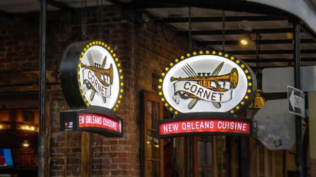 Jan 9, 2017 - lighted signs for Cornet Restaurants featuring New Orleans Cuisine on Bourbon Street, New Orleans, LA/photonews247.com
