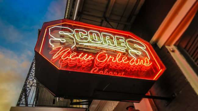 Jan 9, 2017 - neon sign for Scores Bar on Bourbon St in New Orleans, LA/photonews247.com