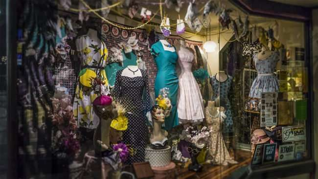 Feb 5, 2017 - La France Vintage clothing shop with window decorations, Ybor City Tampa, FL/photonews247.com