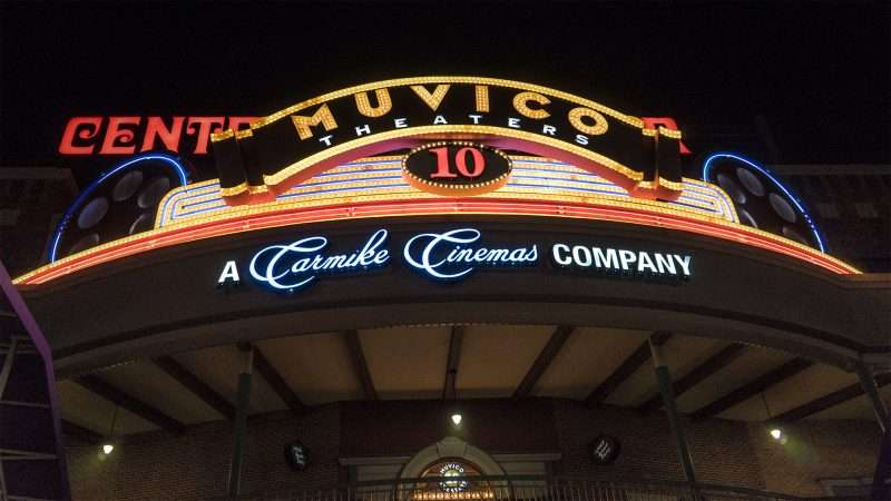 Muvico Theaters 10 sign at night Ybor City Tampa FL