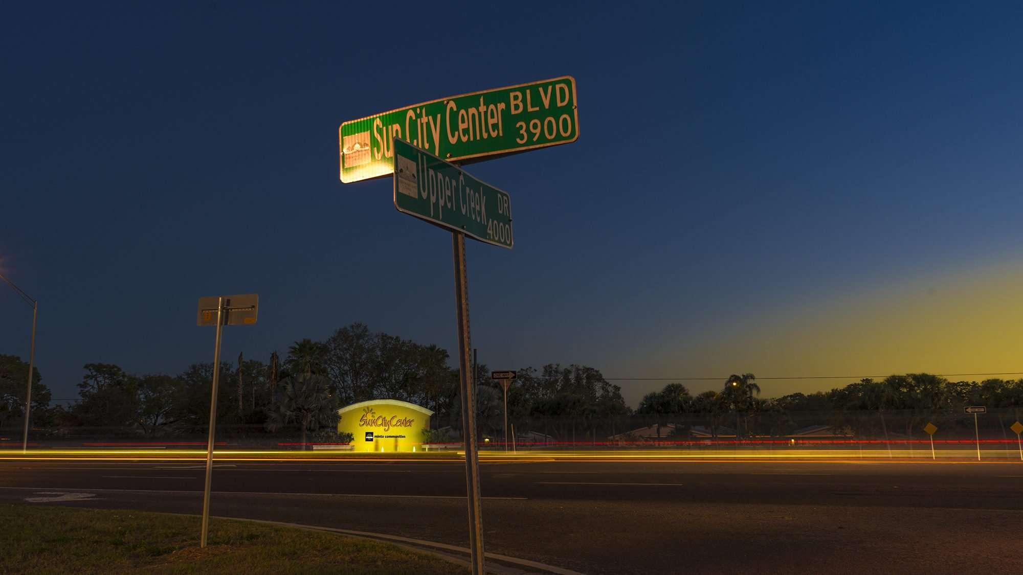 Feb 12, 2017 - Sun City Center FL fountain lights/photonews247.com