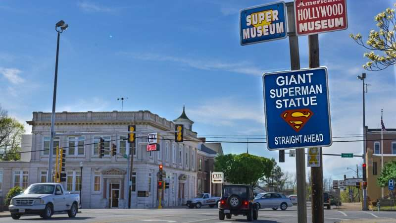 April 6, 2017 - Superman directional signs for Museums and Giant Superman Stature Metropolis/photonews247.com